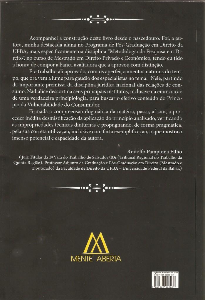 Rodolfo Pamplona, Direito do Consumidor, Livro, Nadialice Francischini, consumidor, prefácio